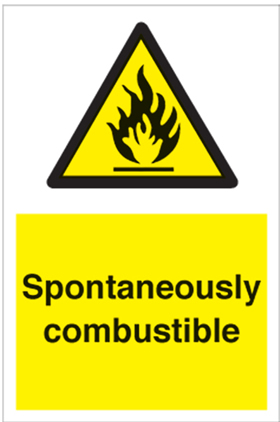 Spontaneously combustible sign.