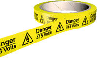 Danger 415 volts 100 labels on roll sign.