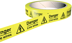 Danger live wires labels 100 per roll.