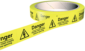 Danger isolate main supply before opening 100 labels on roll sign.