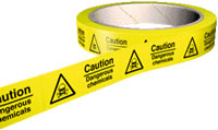 Caution dangerous chemicals 100 labels on roll sign.