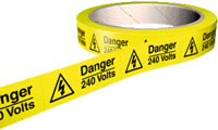 Danger 240 volts 100 labels on roll sign.