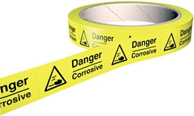 Danger corrosive labels 100 stickers per roll.