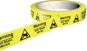 Danger anti-static device 100 labels on roll sign.