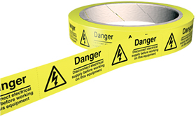 Danger disconnect electrical supply before working on this equipment 100 labels on roll sign.