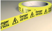Danger 230 volts 250 labels on roll sign.