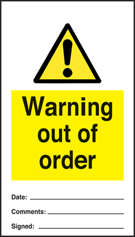 Warning out of order - pack of 10 tags.
