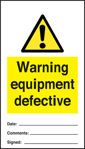 Warning equipment defective - pack of 10 tags.