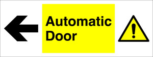 Automatic door arrow leftt sign.