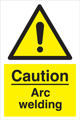 Caution arc welding sign.