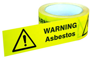Warning asbestos tape (self adhesive tape) tapes.