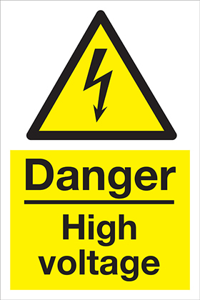 Danger High Voltage sign.