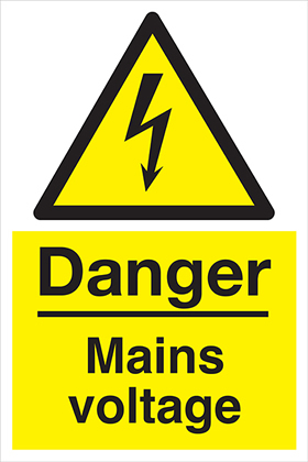 Danger Main Voltage sign.