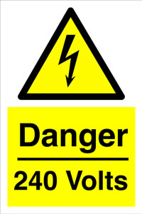 Danger 240 volts sign.