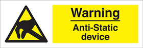 Warning anti-static device sign.