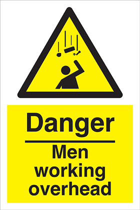 Danger men working overhead sign.