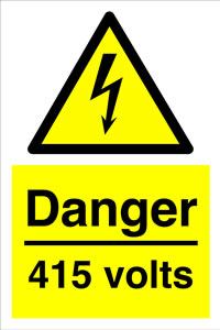Danger 415 volts sign.