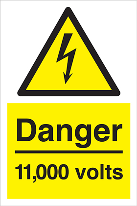 Danger 11000 volts sign.