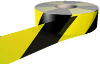 Hazard warning barrier tape (non adhesive) sign.
