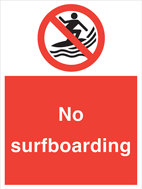 No surfboarding sign.