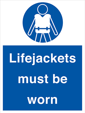 Lifejackets must be worn sign.