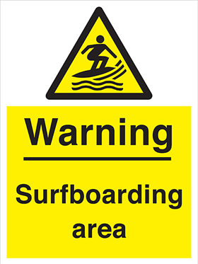 Warning surfboarding area sign.