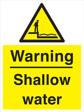 Warning shallow water sign.