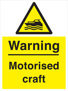 Warning motorised craft sign.