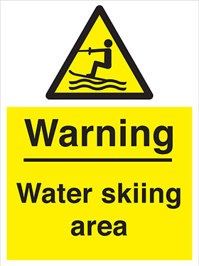 Warning water skiing area sign.