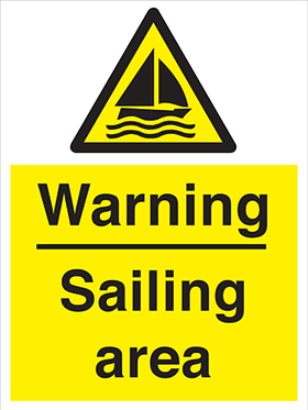 Warning sailing area sign.