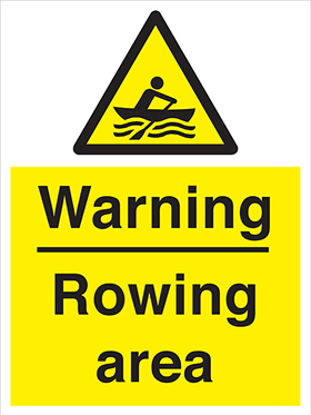 Warning rowing area sign.