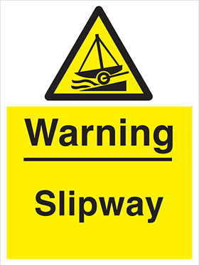 Warning slipway sign.