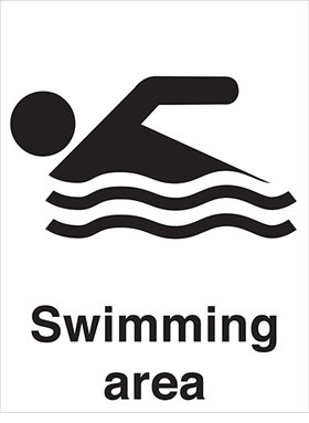Swimming area sign.