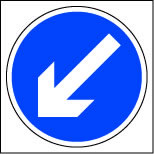 White on blue arrow left sign.