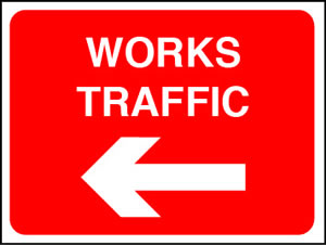 Works traffic left sign.