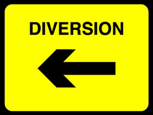 Diversion right sign.