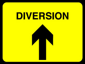 Diversion ahead sign.