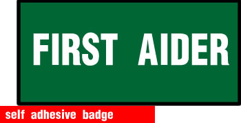 self adhesive first aider badge 228x75mm sign.