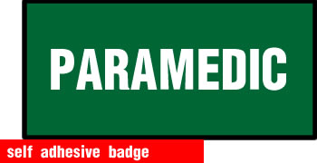 self adhesive paramedic badge 100x50mm sign.