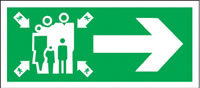 Assembly point - arrow right 5 pack sign.