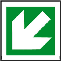 Fire exit arrow diagonal sign.