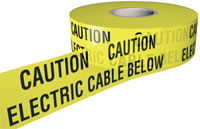 caution electrical cable below 150mmx365m sign.