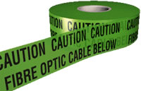 caution fibre optic cable below 150mmx365m sign.