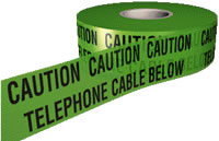 caution telephone cable below tape 150mmx365m sign.