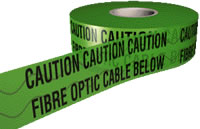 fibre optic cable below detector tape 150mmx100m sign.