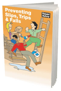 Preventing slips trips & falls booklet sign.