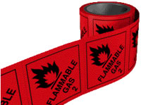 Flammable gas 2 labels. 100 x 100mm self adhesive labels on roll of 250 labels. sign.