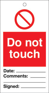Do not touch - pack of 10 tags.