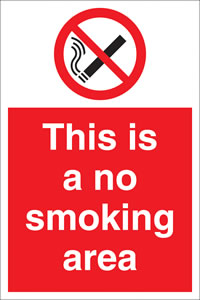 This is a non smoking area. sign.