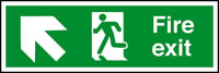 Fire exit arrow up left sign.